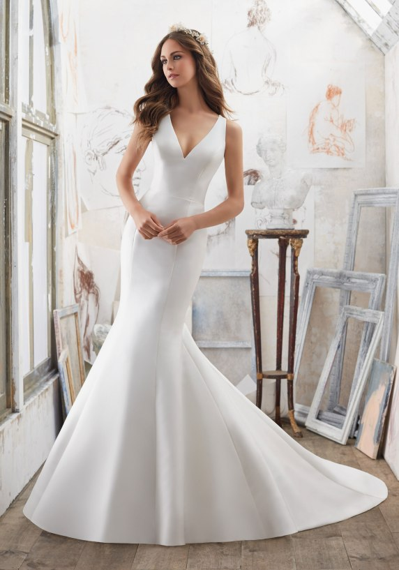 Marlena - The Perfect Combination of Simple and Chic, This Larissa Satin Fit & Flare Wedding Dress Features Stunning Crystallized Back Detail.