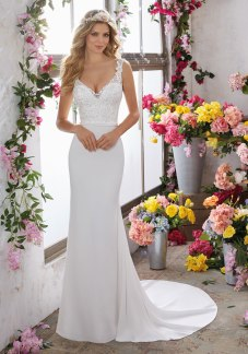 Megan - Frosted, Embroidered Appliqués Adorn the V-Neck and Bodice on This Beautiful Crepe Sheath.