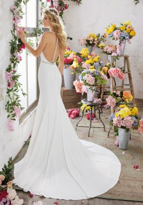 Melissa - Modern and Sophisticated, This Crepe Sheath Wedding Dress Features Gorgeous Crystal Beaded Back Straps and a Removable Crystal Beaded Net Belt.