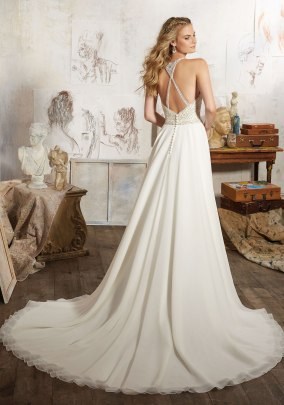 Maelani - Diamante Beaded Bodice Perfectly Complements this Silky Chiffon Skirt.