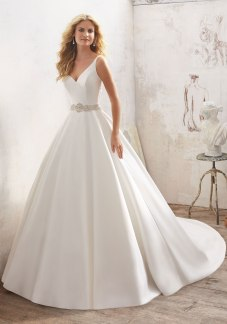 Maribella - Understated and Elegant, This Stunning Marcella Satin A-Line Bridal Gown Features a Crystal Beaded Sheer Back and Waistline.
