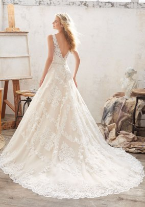 Morgan - This Classic A-Line Wedding Dress Features Alençon Lace Appliqués and Medallion Details on Tulle with Crystal Beaded Trim.