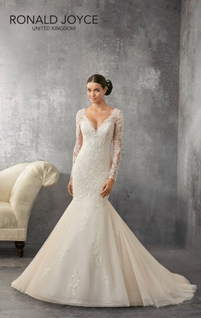 Allie - A CONTEMPORARY DESIGN WITH LONG LACE SLEEVES AND BODICE ON A TRUMPET SKIRT WITH STUNNING ILLUSION BACK