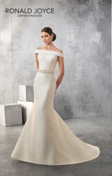 Amanda - A CLASSIC LOOKING BATEAU NECK MIKADO SLIM FITTING GOWN WITH BEADED WAISTBAND, LOW BACK AND BUTTON DETAIL
