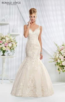 Erin - A LACE OVER ORGANZA FISHTAIL WITH BEADED BACK DETAIL