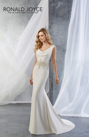 Jenna - A SLIM FITTING SOFT SATIN DRESS WITH A BEADED WAISTLINE AND A BEADED BACK NECKLACE