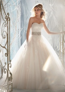 Style 1959 - Tulle Overlaying Beaded Alencon Lace Appliques Wedding Dress