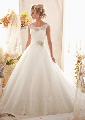 Style 2607 - Classic Chantilly Lace on Tulle with Wide Hemline and Satin Waistband Wedding Dress