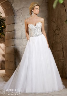 Style 2775 - Diamante and Crystal Beading Decorates the Alencon Lace Bodice onSoft Net Skirt Wedding Dress