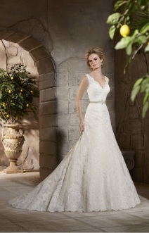 Style 2783 - Alencon Lace Appliques on Net with Wide Scalloped Hemline Lace Wedding Dress