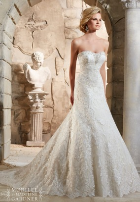 Style 2784 - Embroidered Appliques Trimmed with Crystal Beading and Scalloped Hemline Wedding Dress