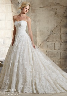 Style 2786 - Delicate Beading on Patterned Alencon Lace on Tulle with Wide Hemline Border Wedding Dress