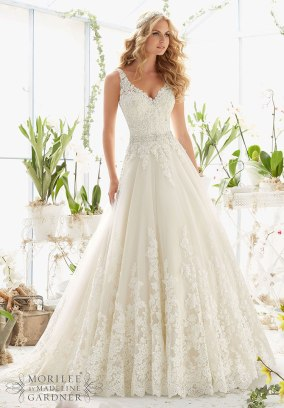 Style 2821 - Classic Tulle Wedding Dress with Crystal Beaded, Alencon Lace Appliques and Wide Scalloped Hemline