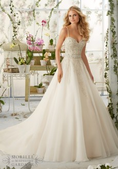 Style 2824 - Crystal Beaded Embroidery on Organza Wedding Dress with Shoestring Straps