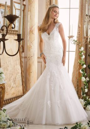 Style 2872 - Embroidered Appliques on Tulle Trimmed with Crystal Beading Wedding Dress