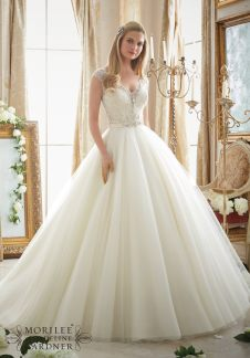 Style 2875 - Intricately Beaded Embroidery on Circular Tulle Ball Gown Wedding Dress