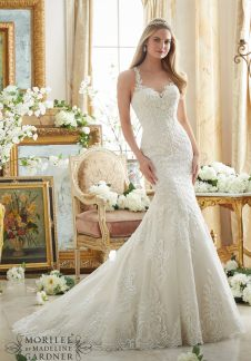 Style 2876 - Embroidered Lace on Soft Net with Wide Hemline Wedding Dress
