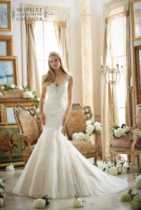 Style 2878 - Contoured Straps with Diamante Beading on Net with Alencon Lace Appliques Wedding Dress