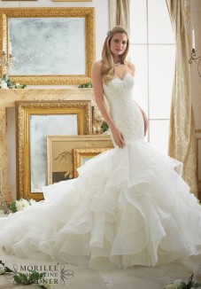 Style 2879 - Alencon Lace Meets Flounced Tulle and Organza Mermaid Style Wedding Dress