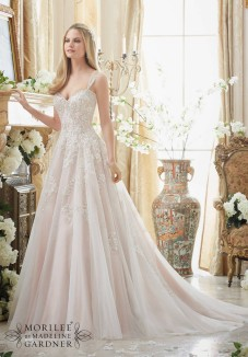 Style 2881 - Elaborately Beaded Embroidery on Soft Tulle Ball Gown Wedding Dress