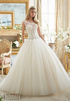 Style 2884 - Crystal Beaded Embroidery on Tulle Ball Gown Wedding Dress