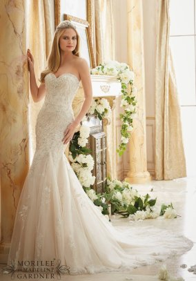 Style 2886 - Crystallized Allover Embroidery on Soft Tulle Wedding Dress