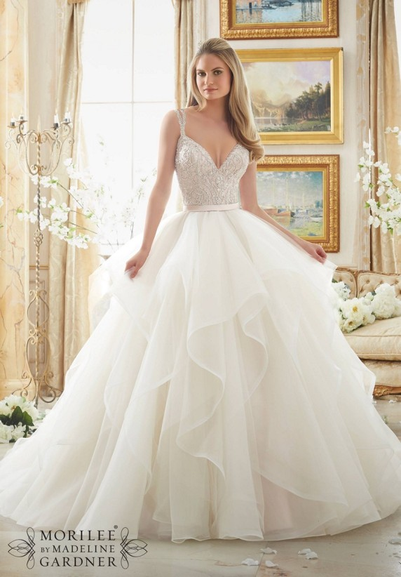 Style 2887 - Dazzling Beaded Bodice on Flounced Tulle and Organza Ball Gown Wedding Dress