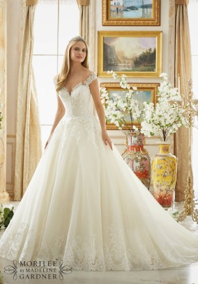 Style 2889 - Frosted Beading on Alencon Lace with Wide Scalloped Hemline on Wedding Dress