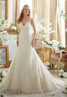 Style 2890 - Embroidered Lace Appliques on Tulle with Wide Scalloped Hemline Wedding Dress