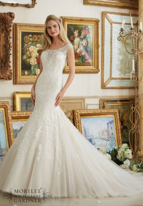Style 2891 - Crystal Beaded Neckline Meets Embroidered Appliques on Tulle Wedding Dress