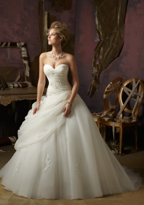 Style 4973 - Crystal Beaded Lace on Organza and Tulle Wedding Dress