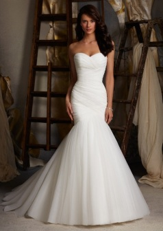 Style 5108 - Asymmetrically Draped Net Wedding Dress