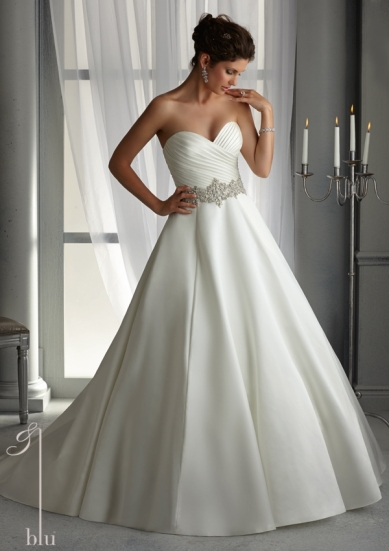 Style 5266 - Duchess Satin Wedding Dress with Elaborately Beaded Waistband