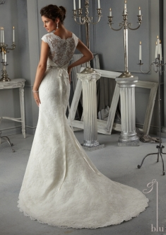 Style 5268 - Allover Alencon Lace Wedding Dress with Beaded Satin Ribbon Sash