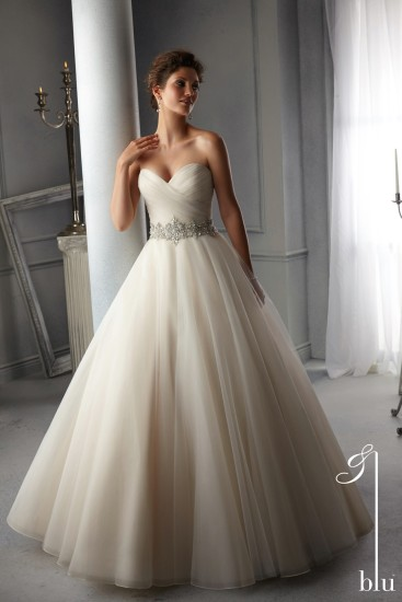 Style 5276 - Intricately Beaded Waistband on Tulle Wedding Dress