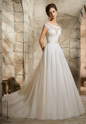 Style 5362 - Embroidered Appliques with Crystal Beading Accent on Soft Tulle Wedding Dress with Satin Waistband