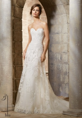 Style 5367 - Elegant Alencon Lace Appliques on Soft Net with Scalloped Hemline Lace Wedding Dress