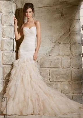 Style 5369 - Asymmetrically Draped Soft Net Dress with Ruffles Wedding Dress
