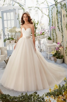 Style 5408 - Asymmetrically Draped Bodice with Shoestring Straps onto Tulle Wedding Dress