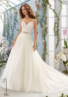 Style 5411 - Embroidered Bodice with Satin Shoulder Straps on Soft Net Wedding Dress