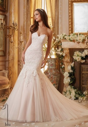 Style 5461 - Vintage Embroidery on Soft Net Wedding Dress