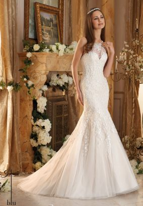Style 5462 - Embroidery on Soft Tulle Trimmed with Pearl and Crystal Beading Wedding Dress