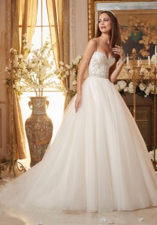 Style 5463 - Crystal Beaded Embroidery on Circular, Tulle Ball Gown Wedding Dress