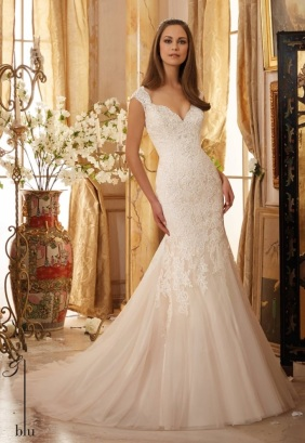 Style 5472 - Crystal Beaded, Alencon Lace Appliques on Soft Net Wedding Dress