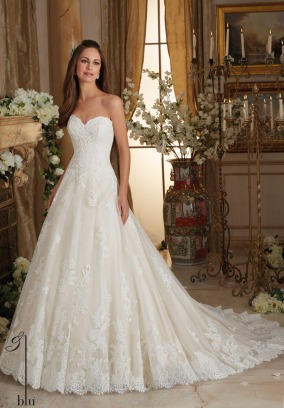 Style 5473 - Chantilly and Embroidered Lace on Tulle Ball Gown with Scalloped Hemline Wedding Dress