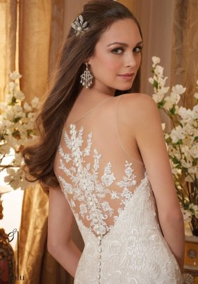 Style 5474 - Delicate Beading on Embroidered Appliques onto Soft Tulle Wedding Dress