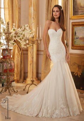 Style 5475 - Embroidered Lace Over Chantilly Lace and Tulle with Scalloped Hemline Wedding Dress