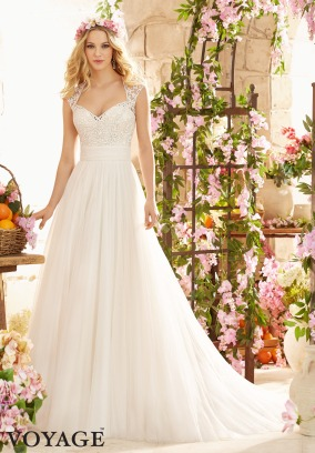 Style 6803 - Majestic Wedding Dress with Embroidery on Soft Net