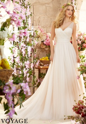 Style 6805 - Deep V Back Soft Net Wedding Dress