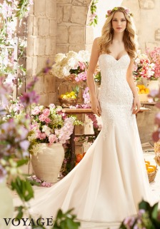 Style 6807 - Embroidered Appliques with Crystal Beading on Net Over Soft Satin Wedding Dress